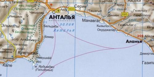 Карта залива Анталья