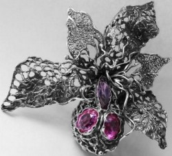Серебряное кольцо с аметистами - авторская работа