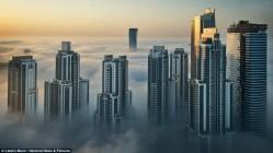 Небоскребы Дубая в вырастают из тумана
