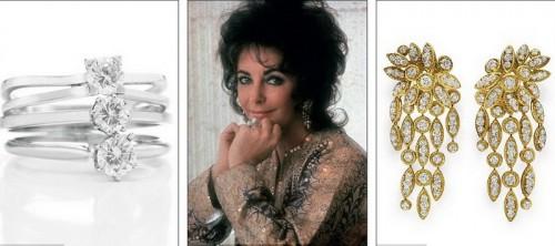 """Слева кольцо с бриллиантами """"Пинг-понг"""", которое Элизабет выиграла у Бартона в партию пинг-понга, а серьги от Van Cleef & Arpels Элизабет получила в подарок от Ричарда Бартона, когда стала бабушкой в 1970 году"""