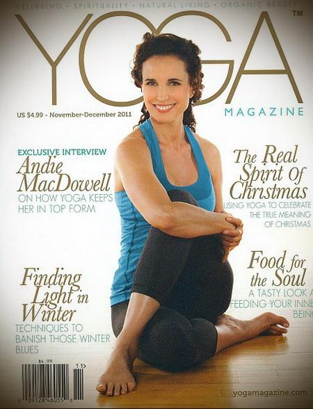 Энди МакДауэлл на обложке журнала YOGA