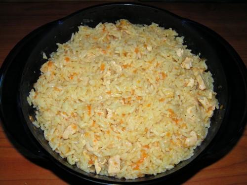 Рис с курицей (плов с курицей). Блюдо из микроволновки.