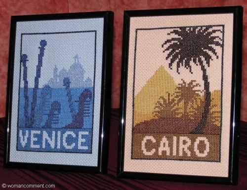 Открытки из отпуска (Италия и Египет). Вышивка крестом