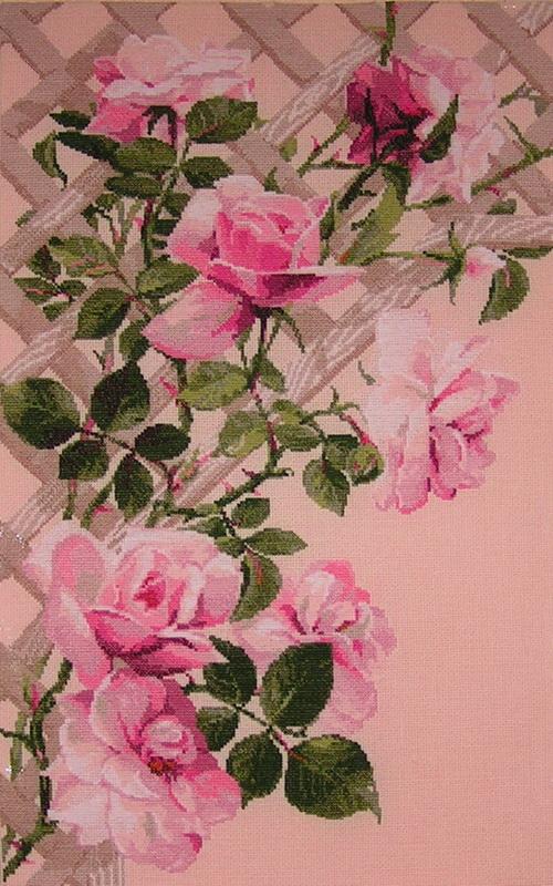 Розовые розы вышивка крестиком