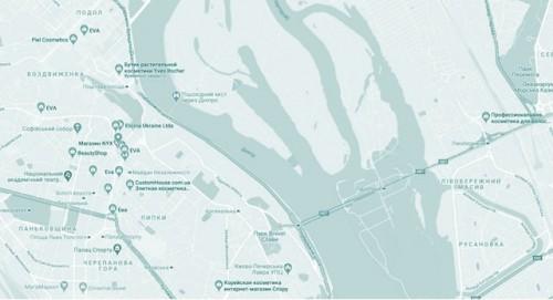 Карта магазинов натуральной и декоративной косметики в Киеве